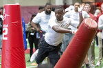 Alabama's Jamey Mosley works through individual drills at Alabama's NFL Pro Day, Tuesday, March 19, 2019, in Tuscaloosa, Ala. (AP Photo/Vasha Hunt)