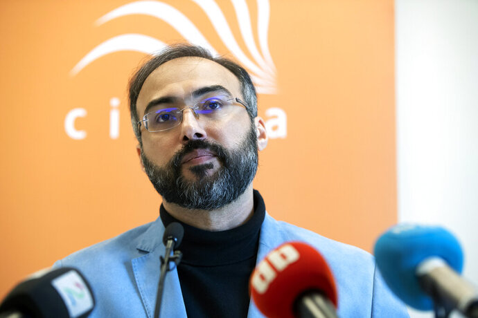 Arab pro-democracy activist Iyad el-Baghdadi attends press conference in Oslo, Monday, May 13, 2019. An Arab activist living in Norway said Monday he's been given protection by two different Norwegian entities after the CIA informed officials of an unspecified threat against him, which he said is likely linked to his research on Saudi Arabia. Iyad el-Baghdadi is an outspoken commentator on Arab affairs on Twitter, where he has over 130,000 follower. (Ryan Kelly/NTB Scanpix via AP)
