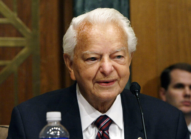 FILE - In this Sept. 26, 2007, file photo, Senate Appropriations Committee Chairman Sen. Robert Byrd, D-W.Va., presides over a hearing of the committee on Capitol Hill in Washington. Bethany College President Tamara Rodenberg said on the school's website Wednesday, June 17, 2020, that Byrd's name will be removed from the college's Robert C. Byrd Health Center. (AP Photo/Pablo Martinez Monsivais, File)