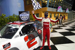 Myatt Snider celebrates after winning the NASCAR Xfinity Series auto race Saturday, Feb. 27, 2021, at Homestead-Miami Speedway in Homestead, Fla. (AP Photo/Wilfredo Lee)