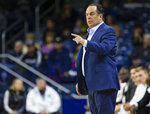 Notre Dame head coach Mike Brey calls a play during an NCAA college basketball game against Robert Morris Saturday, Nov. 9, 2019 at Purcell Pavilion in South Bend, Ind. (Michael Caterina/South Bend Tribune via AP)