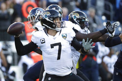 Jacksonville Jaguars quarterback Nick Foles passes against the Tennessee Titans in the first half of an NFL football game Sunday, Nov. 24, 2019, in Nashville, Tenn. (AP Photo/James Kenney)