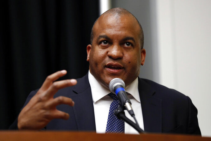 FILE - In this May 30, 2017, file photo, NBA G League President Malcolm Turner speaks during a news conference in Des Moines, Iowa. Turner, the former NBA G League president who started as Vanderbilt's athletic director on Feb. 1, 2019, resigned Tuesday, Feb. 4, 2020. He has been replaced by Candice Storey Lee, as interim athletic director effectively immediately. (AP Photo/Charlie Neibergall, File)