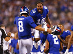 New York Giants wide receiver Bennie Fowler (18) and quarterback Daniel Jones (8) celebrate after a touchdown against the Chicago Bears during the second quarter of a preseason NFL football game, Friday, Aug. 16, 2019, in East Rutherford, N.J. (AP Photo/Adam Hunger)