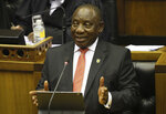 South African President Cyril Ramaphosa delivers his State of the Nation Address in Cape Town, South Africa, Thursday, Feb. 13, 2020. (Sumaya Hisham/Pool Photo via AP)