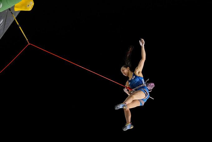 Japan's Akiyo Noguchi during the lead portion of the women's sport climbing final at the 2020 Summer Olympics, Friday, Aug. 6, 2021, in Tokyo, Japan. (AP Photo/David Goldman)