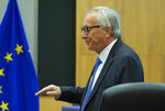European Commission President Jean-Claude Juncker arrives for the weekly meeting of the college of commissioners at EU headquarters in Brussels, Wednesday, Sept. 11, 2019. (AP Photo/Virginia Mayo)