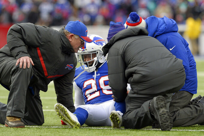 FILE - In this Dec. 17, 2017, file photo, Buffalo Bills E.J. Gaines (28) reacts after being injured during the second half of an NFL football game against the Miami Dolphins, Sunday,, in Orchard Park, N.Y. The Bills are giving oft-injured cornerback E.J. Gaines a third opportunity to resume his career by agreeing to a one-year contract. This marks the second consecutive offseason Gaines has signed with Buffalo.(AP Photo/Adrian Kraus, File)