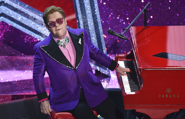 FILE - In this Sunday, Feb. 9, 2020 file photo, Elton John performs