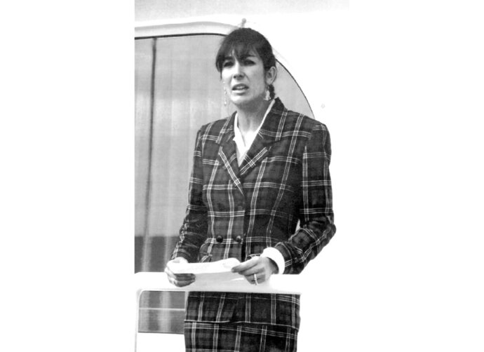 FILE - In this Nov. 7, 1991, file photo Ghislaine Maxwell, daughter of late British publisher Robert Maxwell, reads a statement in Spanish in which she expressed her family's gratitude to the Spanish authorities, aboard the
