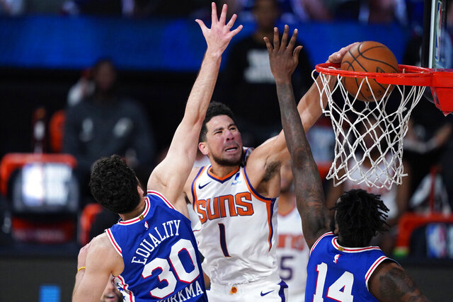 Phoenix Suns guard Devin Booker (1) makes a basket as Philadelphia 76ers guard Furkan Korkmaz (30) and forward Norvel Pelle (14) defend during the second half of an NBA basketball game Tuesday, Aug. 11, 2020, in Lake Buena Vista, Fla. (AP Photo/Ashley Landis, Pool)