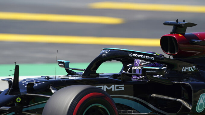 Mercedes driver Lewis Hamilton of Britain steers his car during the third free practice for the Spanish Formula One Grand Prix at the Barcelona Catalunya racetrack in Montmelo, just outside Barcelona, Spain, Saturday, May 8, 2021. The Spanish Grand Prix will be held on Sunday. (AP Photo/Emilio Morenatti)