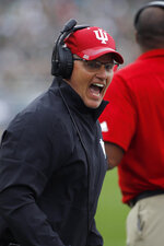Indiana coach Tom Allen reacts during the first half of an NCAA college football game against Michigan State, Saturday, Sept. 28, 2019, in East Lansing, Mich. (AP Photo/Al Goldis)