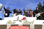 The band Los Lobos performs on the Wells Fargo float at the 131st Rose Parade in Pasadena, Calif., Wednesday, Jan. 1, 2020. (AP Photo/Michael Owen Baker)
