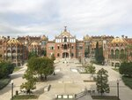This Oct. 14, 2019 photo shows Sant Pau Recinte Modernista, a once-working hospital that was designed by Catalan architect, Lluís Domènech I Montaner, in Barcelona, Spain. (Courtney Bonnell via AP)
