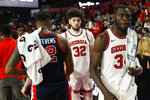 Georgia forwards Derek Ogbeide (34) and Mike Edwards (32) shake hands with Mississippi forward Bruce Stevens (12) and his teammates after  an NCAA college basketball game in Athens, Ga., on Saturday, Feb. 9, 2019. (Joshua L. Jones/Athens Banner-Herald via AP)