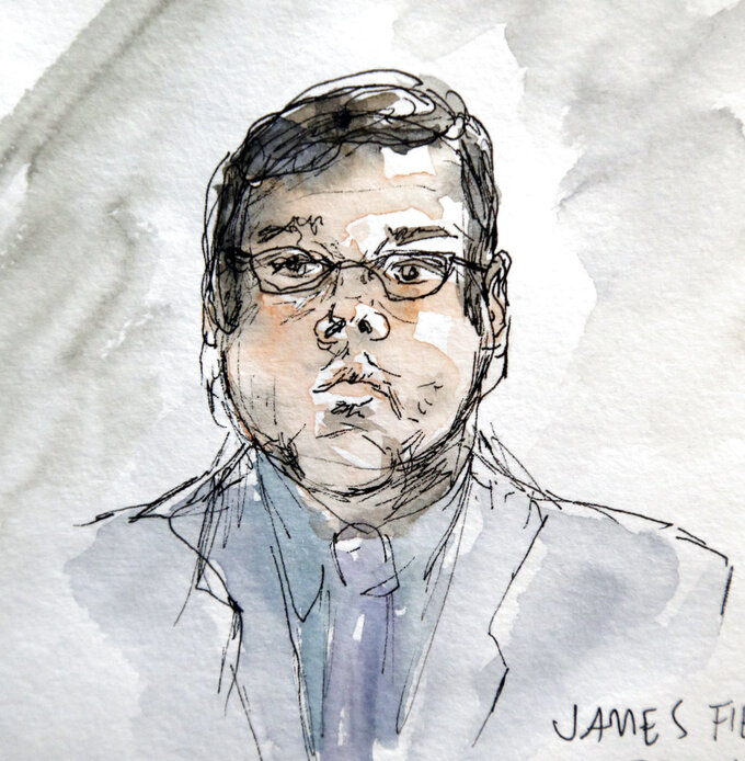 This artwork shows James Alex Jr., during the second day of jury selection in his trial in Charlottesville General District Court in Charlottesville, Va., Tuesday, Nov. 27, 2018. (AP Photo/Izabel Zermani)