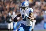 Detroit Lions wide receiver Kenny Golladay (19) runs toward the end zone to score against the Oakland Raiders during the first half of an NFL football game in Oakland, Calif., Sunday, Nov. 3, 2019. (AP Photo/John Hefti)