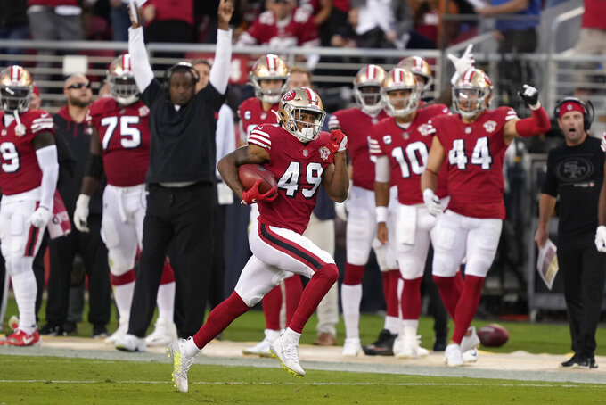 San Francisco 49ers' Trenton Cannon returns a kickoff against the Green Bay Packers during the first half of an NFL football game in Santa Clara, Calif., Sunday, Sept. 26, 2021. (AP Photo/Tony Avelar)