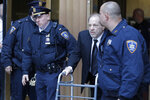 Harvey Weinstein leaves a Manhattan courthouse during a break in the jury selection for his trial on rape and sexual assault charges in New York, Thursday, Jan. 16, 2020. (AP Photo/Seth Wenig)
