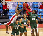 Houston forward Justin Gorham (4), left, and Cleveland State guard D'Moi Hodge (55) battle for a rebound during the second half of a first-round game in the NCAA men's college basketball tournament, Friday, March 19, 2021, at Assembly Hall in Bloomington, Ind. (AP Photo/Doug McSchooler)