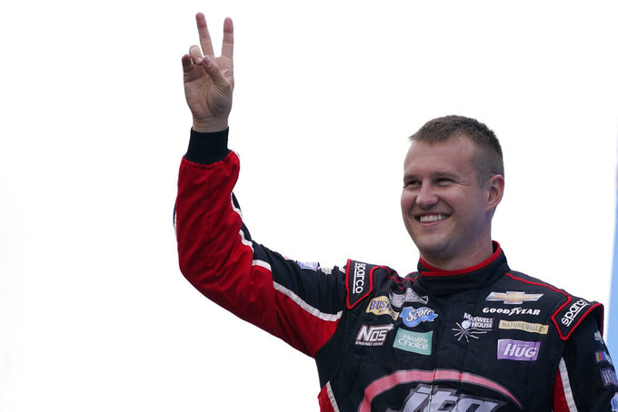 Ryan Preece at a NASCAR Cup Series auto race, Sunday, July 18, 2021, in Loudon, N.H. (AP Photo/Charles Krupa)