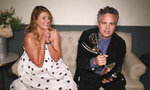 In this video grab captured on Sept. 20, 2020, courtesy of the Academy of Television Arts & Sciences and ABC Entertainment, Mark Ruffalo accepts the award for outstanding lead actor in a limited series or movie for