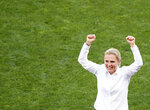Netherlands coach Sarina Wiegman celebrates at the end of the Women's World Cup quarterfinal soccer match between Italy and the Netherlands, in Valenciennes, France, Saturday, June 29, 2019. (AP Photo/Francois Mori)