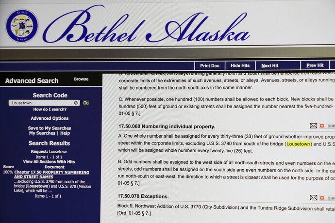 A screen photo shows the municipal code for Bethel, Alaska, where the term