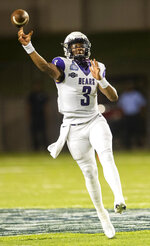 Central Arkansas quarterback BreylinSmith throws a pass during an NCAA college football game against Austin Peay on Saturday, Aug. 29, 2020, in Montgomery, Ala. (Jake Crandall/The Montgomery Advertiser via AP)