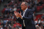 Oklahoma coach Lon Kruger claps for his team during the first half of an NCAA college basketball game against Texas Tech, Tuesday, Feb. 4, 2020, in Lubbock, Texas. (Brad Tollefson/Lubbock Avalanche-Journal via AP)
