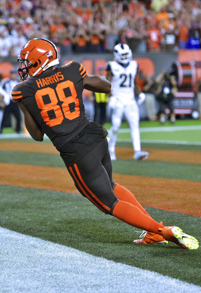 Cleveland Browns tight end Demetrius Harris scores a two-yard touchdown during the second half of an NFL football game against the Los Angeles Rams, Sunday, Sept. 22, 2019, in Cleveland. (AP Photo/David Richard)