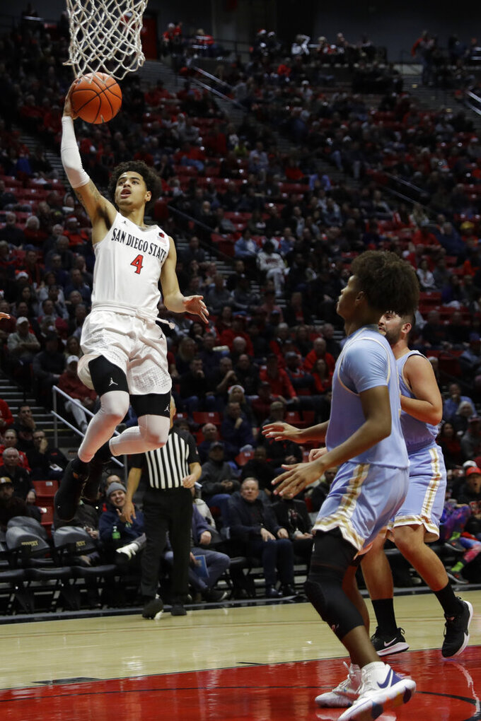 San Diego State guard Trey Pulliam (4) shoots during the first half of the team's NCAA college basketball game against San Diego Christian on Wednesday, Dec. 18, 2019, in San Diego. (AP Photo/Gregory Bull)