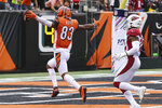 Cincinnati Bengals wide receiver Tyler Boyd (83) runs in a touchdown in the second half of an NFL football game against the Arizona Cardinals, Sunday, Oct. 6, 2019, in Cincinnati. (AP Photo/Gary Landers)
