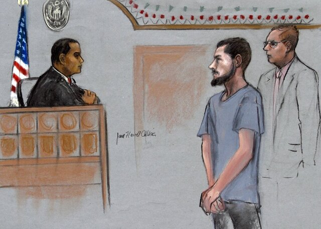 File - In this Friday, June 12, 2015, file courtroom sketch, Nicholas Rovinski, second from right, of Warwick, R.I., is depicted standing with his attorney William Fick, right, as Magistrate Judge Donald Cabell, left, presides during a hearing in federal court in Boston. In August 2020, U.S. District Judge William Young ordered Rovinski's early release after his lawyers argued that his medical conditions make him particularly susceptible to serious illness from COVID-19. (Jane Flavell Collins via AP, File)