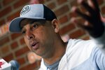 Boston Red Sox manger Alex Cora speaks during a news conference at Fenway Park in Boston, Monday, Sept. 30, 2019. (AP Photo/Michael Dwyer)