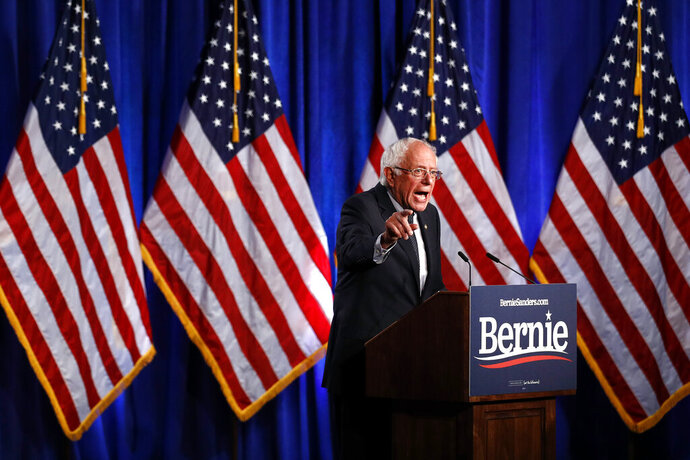 Democratic presidential candidate, Sen. Bernie Sanders, I-Vt., gives a speech on his