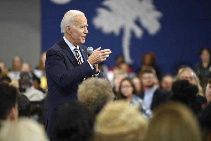 Former Vice President and Democratic presidential candidate Joe Biden speaks at a town hall held at Lander University on Thursday, Nov. 21, 2019, in Greenwood, S.C. (AP Photo/Meg Kinnard)