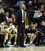 Wake Forest head coach Danny Manning directs his team during the second half of an NCAA college basketball game against Florida State on Saturday, March 9, 2019 in Winston-Salem, N.C. Florida State beat Wake Forest 65 to 57. (AP Photo/Woody Marshall)