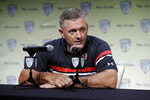 Utah head coach Kyle Whittingham answers questions during the Pac-12 Conference NCAA college football Media Day Wednesday, July 24, 2019, in Los Angeles. (AP Photo/Marcio Jose Sanchez)