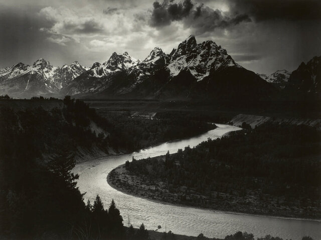 This 1942 Ansel Adams photo provided by Sotheby's and The Ansel Adams Publishing Rights Trust shows, a West Texas oilman's mural-sized print of Ansel Adams' photo,
