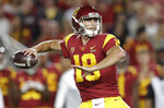 Southern California quarterback Matt Fink throws a pass against Utah during the first half of an NCAA college football game Friday, Sept. 20, 2019, in Los Angeles. (AP Photo/Marcio Jose Sanchez)
