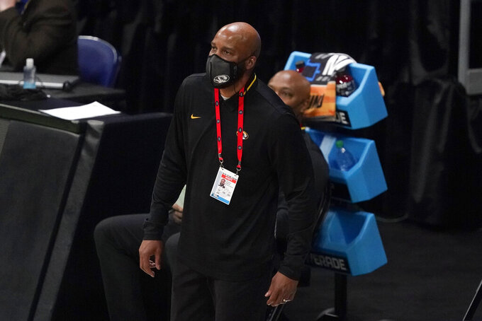 Missouri head coach Cuonzo Martin watches from the bench during the first half of a first-round game against Oklahoma in the NCAA men's college basketball tournament at Lucas Oil Stadium, Saturday, March 20, 2021, in Indianapolis. (AP Photo/Darron Cummings)