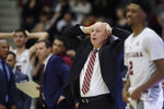 Santa Clara coach Herb Sendek, center, reacts to an official's call during the second half of the team's NCAA college basketball game against Gonzaga in Santa Clara, Calif., Thursday, Jan. 30, 2020. (AP Photo/Jeff Chiu)