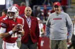 Wisconsin head coach Paul Chryst and athletic director Barry Alvarez watch warm ups before an NCAA college football game against Nebraska Saturday, Oct. 6, 2018, in Madison, Wis. (AP Photo/Morry Gash)