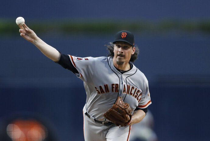 San Francisco Giants starting pitcher Jeff Samardzija throws against the San Diego Padres during a baseball game Monday, July 1, 2019, in San Diego. (AP Photo/Gregory Bull)