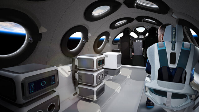 This undated photo released by Virgin Galactic shows the interior of their SpaceshipTwo Cabin during a flight. Highly detailed amenities to enhance the customer experience were shown in an online event Tuesday, July 28, 2020, revealing the cabin of the company's rocket plane, a type called SpaceShipTwo, which is undergoing testing in preparation for commercial service. There are a dozen windows for viewing, seats capable of being customized to each of six passengers and mood lighting. (Virgin Galactic via AP)