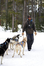 Dog-sledding guide Tim Thiessen of Leadville is pictured with his huskies on Thursday, Jan. 16, 2020 at Good Times Adventures in Breckenridge, Colo. (Liz Copan/Summit Daily News via AP)
