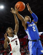 Kentucky guard Ashton Hagans (2) goes to the basket as Georgia guard Jordan Harris (2) defends during the first half of an NCAA college basketball game Tuesday, Jan. 15, 2019, in Athens, Ga. (AP Photo/John Bazemore)