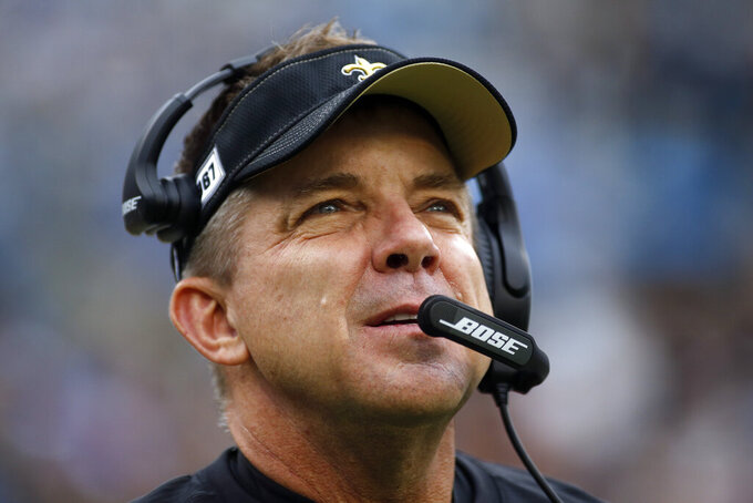 New Orleans Saints head coach Sean Payton looks on during the first half of an NFL football game against the Carolina Panthers in Charlotte, N.C., Sunday, Dec. 29, 2019. (AP Photo/Brian Blanco)